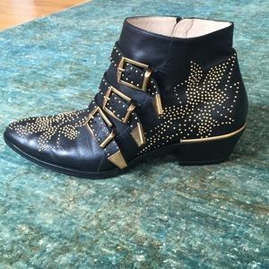 Chloe Susanna Leather Studded Ankle Boots 39.5